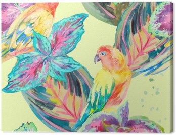 Obraz na Płótnie Akwarela Papugi .Tropical kwiatów i liści. Egzotyczny.