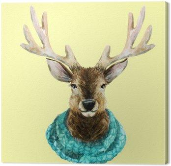 Obraz na Płótnie Akwarela przystojni jelenia