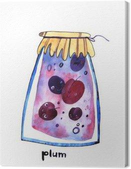 Obraz na Płótnie Akwarela śliwkowy jem