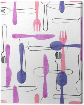 Obraz na Płótnie Akwarela sztućce szwu w różowe i fioletowe kolory. Wektor tła z łyżki, widelce i noże.