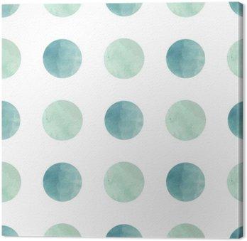 Obraz na Płótnie Akwarela tekstur. Szwu. okręgi akwarelowe w pastelowych kolorach na białym tle. Pastelowe kolory i romantyczne delikatne wzornictwo. Grochy Wzór. Fresh Mint i kolory.