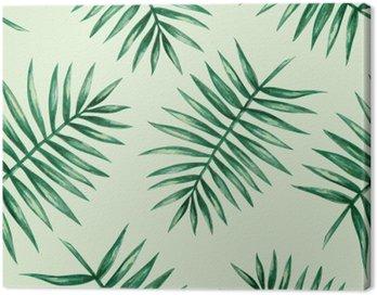 Obraz na Płótnie Akwarela tropikalnych liści palmowych szwu wzorca. ilustracji wektorowych.