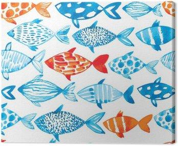 Akwarela wektora ryby na jasnym tle. Akwarela wzór s