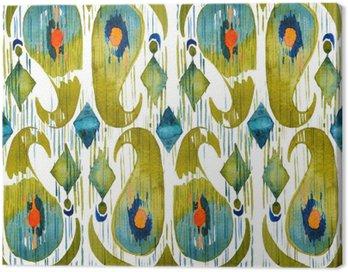 Obraz na Płótnie Akwarela zielone Ikat ruchliwej szwu wzór. Trendy w stylu tribal akwareli. Pióro pawia.