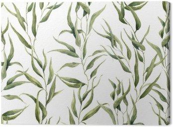 Obraz na Płótnie Akwarela zielony kwiatowy szwu z liści eukaliptusa. Ręcznie malowany wzór z gałęzi i liści eukaliptusa izolowana na białym tle. Do projektowania lub tła