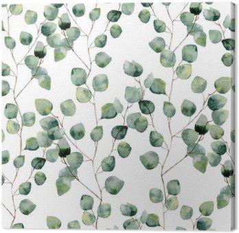 Obraz na Płótnie Akwarela zielony kwiatowy szwu z okrągłymi liśćmi eukaliptusa. Ręcznie malowany wzór z gałęzi i liści eukaliptusa srebrnego dolara na białym tle. Do projektowania lub tła