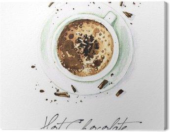 Obraz na Płótnie Akwarela żywności Malarstwo - Hot Chocolate