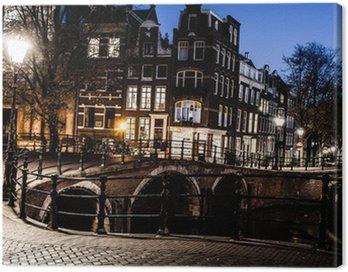 Obraz na Płótnie Amsterdam nocą, Holandia