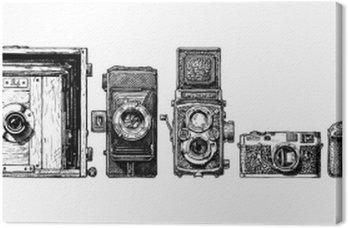 Obraz na Płótnie Aparaty fotograficzne ewolucja ustawiony.