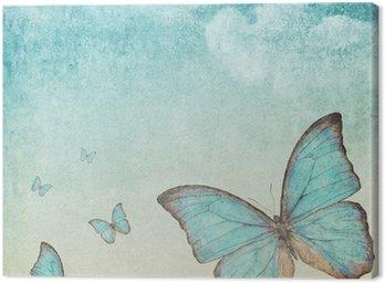 Obraz na Płótnie Archiwalne tła z niebieskim motylem