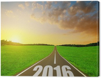 Obraz na Płótnie Asfaltowa droga na zachód słońca. Przekazania do Nowego Roku 2016