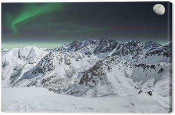 Obraz na Płótnie Aurora i księżyc w górach