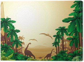 Obraz na Płótnie Background-dinozaur dinozaury jurajski krajobraz jurajski