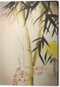 Obraz na Płótnie Bambus Słońce i oddział śliwki