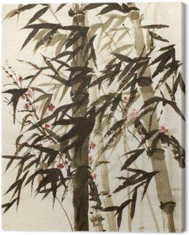 Obraz na Płótnie Bambusowe drzewa i śliwki gałęzi
