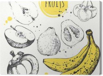 Obraz na Płótnie Banan, mangostan, jabłko, bergamotka. Ręcznie rysowane zestaw ze świeżą żywnością.