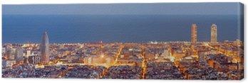 Obraz na Płótnie Barcelona skyline panorama niebieski godzinę