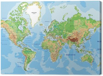 Obraz na Płótnie Bardzo szczegółowe mapa fizyczna świata z etykietowania.