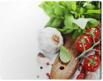 Obraz na Płótnie Bazyli i świeże warzywa