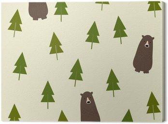 Obraz na Płótnie Bear and forest seamless background.