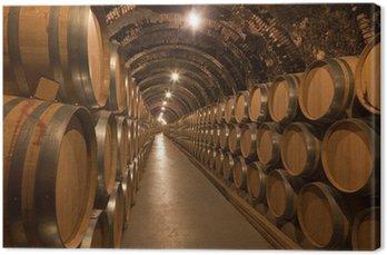Obraz na Płótnie Beczki wina w piwnicy