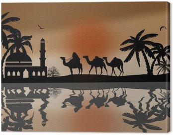 Obraz na Płótnie Beduin wielbłąda karawana w pobliżu wody