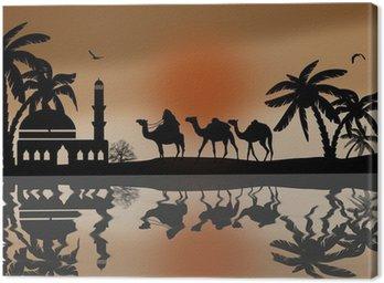 Beduin wielbłąda karawana w pobliżu wody