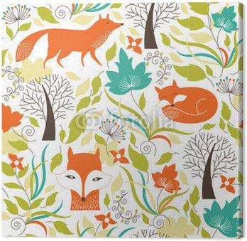 Obraz na Płótnie Bez szwu deseń z cute lisa