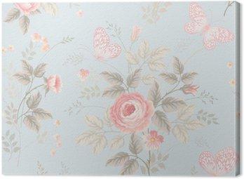 Obraz na Płótnie Bez szwu kwiatowy wzór z róż i motyli