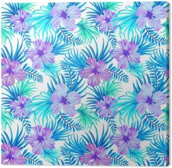 Obraz na Płótnie Bez szwu tropikalnych kwiatowy wzór. liście hibiskusa i palmy na białym tle. klasyczne motywy aloha w soczystym, kolorowym wzorze w turkusowych odcieniach.