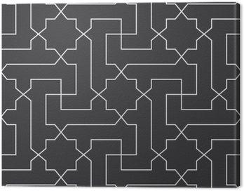 Obraz na Płótnie Bezproblemowa czarno-biały klasyczny arabski przekątnej krzyż i gwiazda wektor wzór