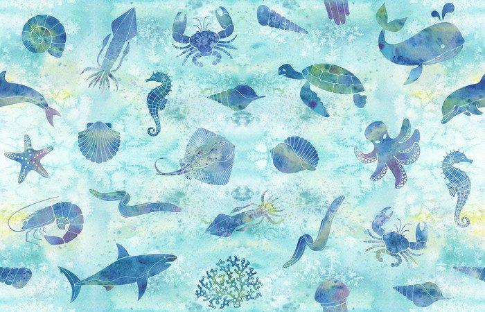 Obraz na Płótnie Bezszwowe tło morskich - Zwierzęta
