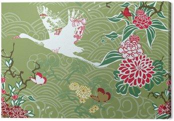 Obraz na Płótnie Bezszwowe tło z dźwigiem i ikebany