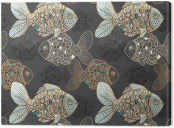 Obraz na Płótnie Bezszwowe tło z ryb