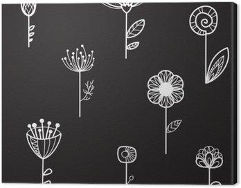 Obraz na Płótnie Bezszwowych tekstur z ozdobnymi kwiatami, czarnym tle, ilustracji wektorowych