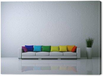 Biała kanapa z poduszkami kolorach tęczy