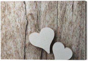 Obraz na Płótnie Białe serce na tle drewniane