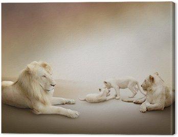 Obraz na Płótnie Biały lew rodzina