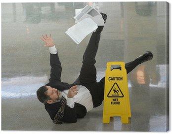 Obraz na Płótnie Biznesmen Falling na mokrej podłodze