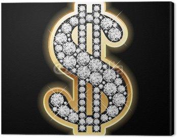 Obraz na Płótnie Bling-bling. Symbol dolara w diamenty. Vector.