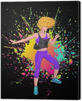 Obraz na Płótnie Blondynka przydatności taniec zumba, czarne tło