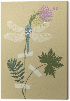 Obraz na Płótnie Blue Dragonfly i Rośliny