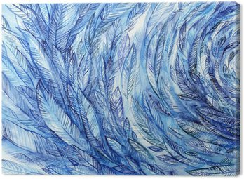 Obraz na Płótnie blue feathers in a circle, watercolor abstract background