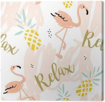 Obraz na Płótnie Blush Pink Flamingo, ananasy i komunikat Relaks na białym tle z pastelowych uderzeń. Wektor bez szwu z ptaków i owoców tropikalnych.