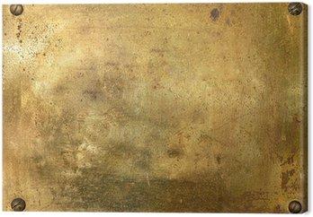 Obraz na Płótnie Błyszczący mosiądz blachy ze śrubami