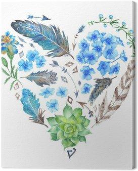 Obraz na Płótnie Boho Style Watercolor Heart Shape