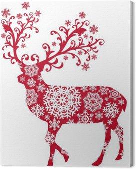 Obraz na Płótnie Boże Narodzenie jelenia z ornamentami i płatki śniegu, wektor