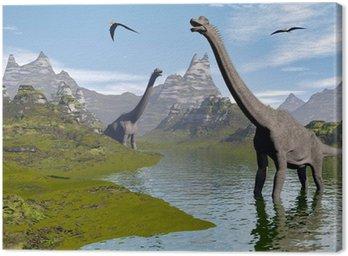 Obraz na Płótnie Brachiosaurus dinozaury w wodzie - 3d render