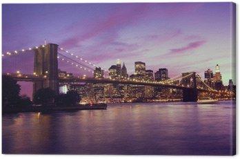 Obraz na Płótnie Brooklyn Bridge i Manhattan na zachodzie słońca, New York
