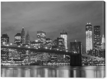Obraz na Płótnie Brooklyn Bridge i Manhattan Skyline w nocy, New York City